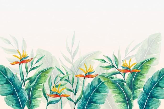 Тропические настенные обои листья и цветы