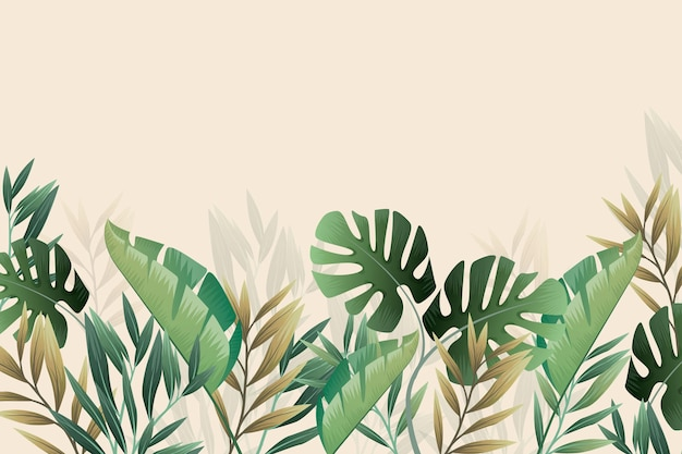 Тропические настенные обои монстера и пальмовые листья