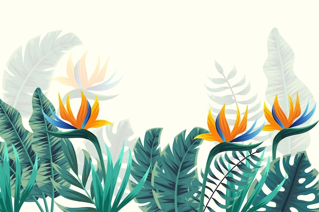 Tropical mural wallpaper with flowers