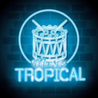 Тропическая музыка бар неоновая этикетка векторная иллюстрация дизайн