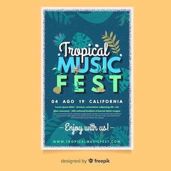 Tropical music festival poster template