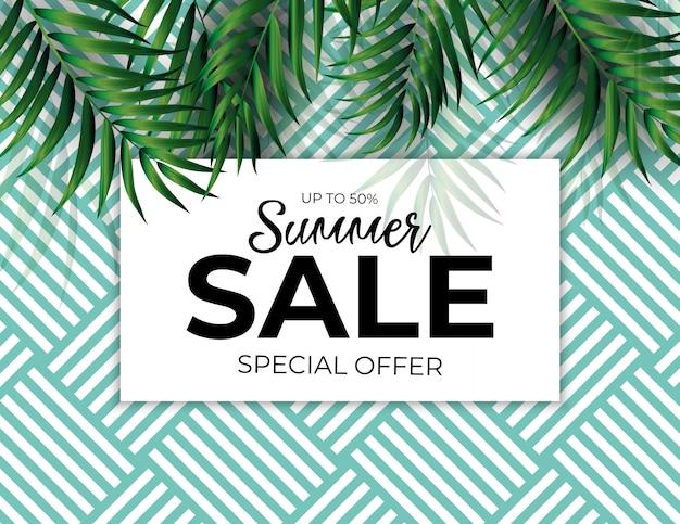 Tropical natural palm summer sale.  illustration