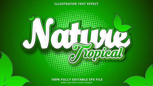 Тропический естественный текстовый эффект редактируемый