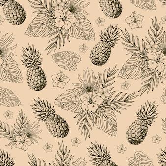 Тропический природный старинный бесшовный образец в монохромном стиле с фруктами ананаса