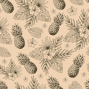 Tropical natural vintage seamless pattern in monochrome style with pineapple fruits