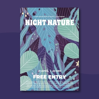 Tropical nature poster template with leaves