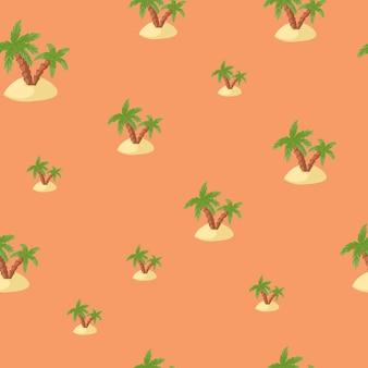 緑のヤシと島の形をした熱帯の自然のシームレスなパターン。パステルピンクの背景。ファブリックデザイン、テキスタイルプリント、ラッピング、カバー用に設計されています。ベクトルイラスト。