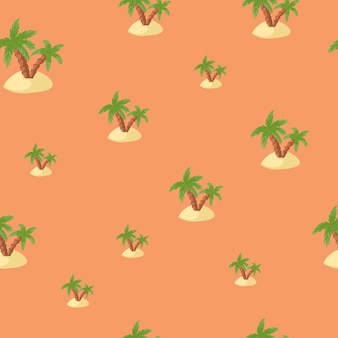 Tropical nature seamless pattern with green palms and island shapes. pastel pink background. designed for fabric design, textile print, wrapping, cover. vector illustration.