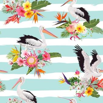 ペリカンと花と熱帯の自然のシームレスなパターン。ファブリック、テキスタイル、壁紙の水鳥と花の背景。ベクトルイラスト