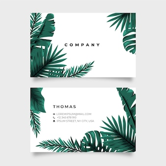 Tropical nature with exotic leaves horizontal double-sided business card