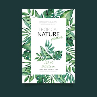 Tropical nature with exotic leaves poster template
