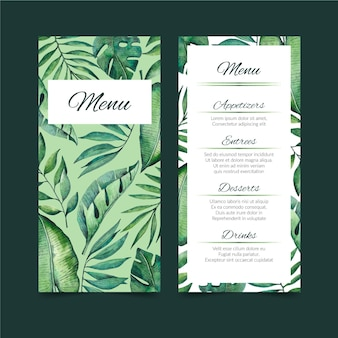 Tropical nature with exotic leaves restaurant menu