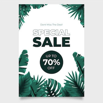 Tropical nature with exotic leaves sale poster