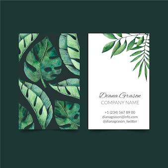 Tropical nature with exotic leaves vertical double-sided business card