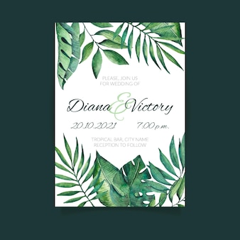 Tropical nature with exotic leaves wedding invitation