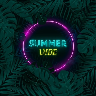 Tropical neon lettering theme