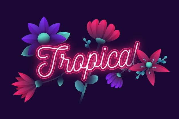 Lettering neon tropicale con fiori