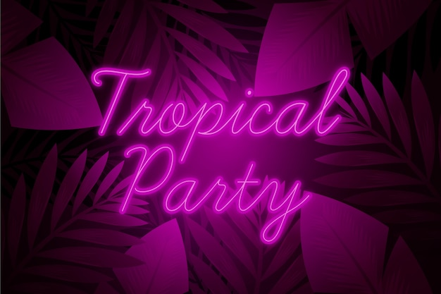 Tropical neon lettering with leafage and party