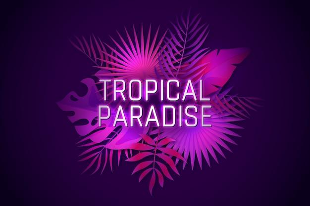 Tropical neon lettering with leafage