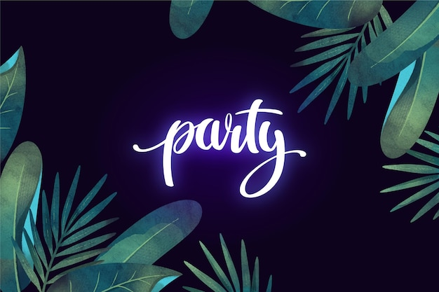 Tropical neon lettering with leaves concept