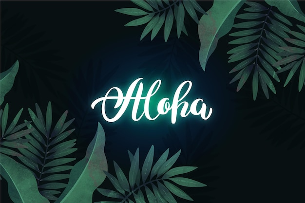 Tropical neon lettering with leaves design