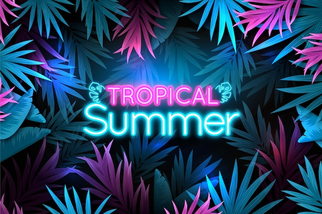 Tropical neon lettering with leaves and flowers background