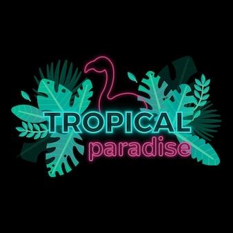 Lettering neon tropicale con foglie o fiori