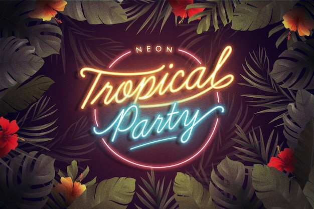 Tropical neon lettering with leaves and flowers