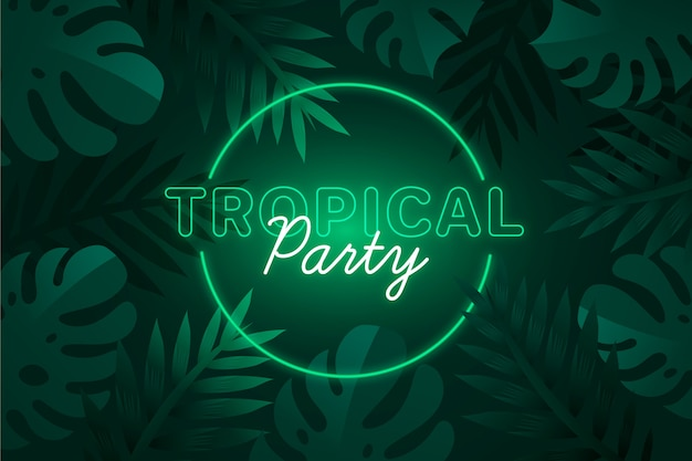 Tropical neon lettering with leaves and party