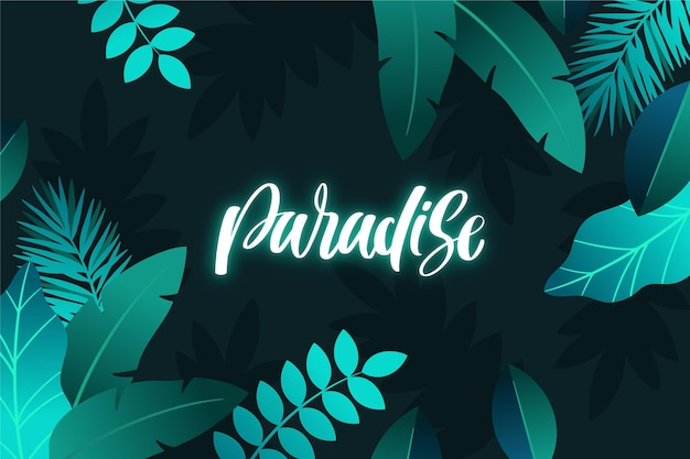 Tropical neon lettering with leaves theme