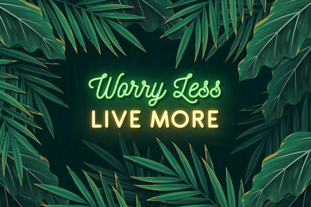 Tropical neon lettering with leaves