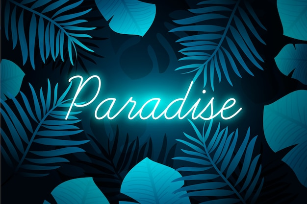 Tropical neon lettering with paradise