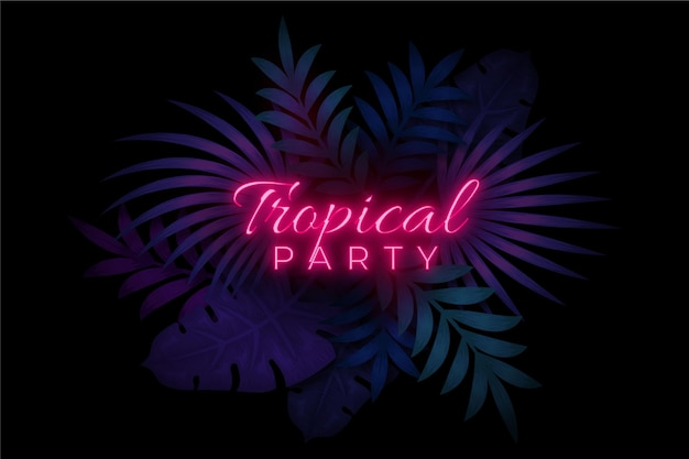 Tropical neon lettering with party and leaves