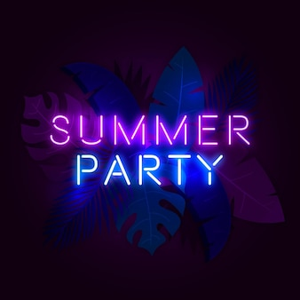 Tropical neon lettering with party