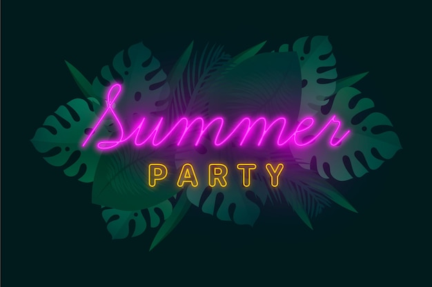 Tropical neon lettering with summer vibes
