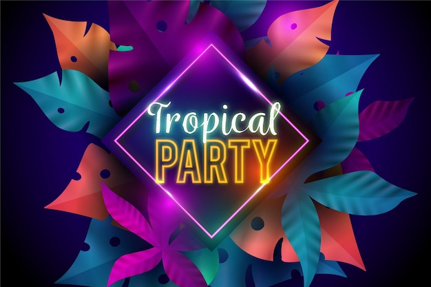 Tropical neon lettering with vegetation