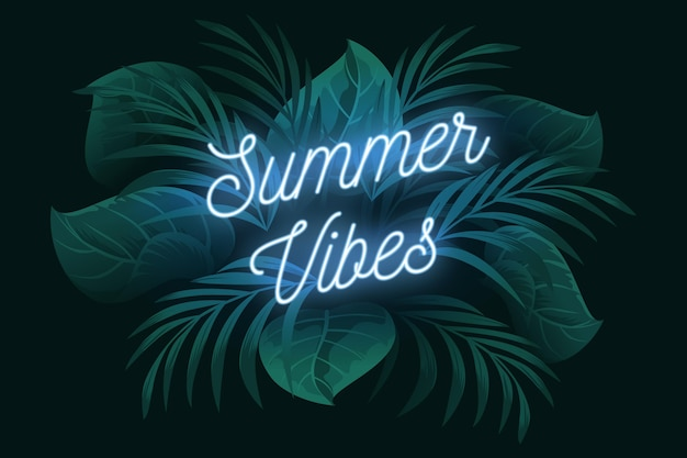 Tropical neon lettering