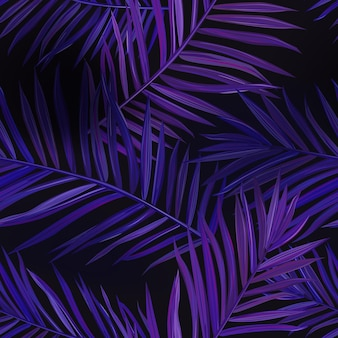 Tropical neon palm leaves seamless pattern. jungle purple colored floral background. summer exotic botanical foliage fluorescent design with tropic plants for fabric, fashion textile, wallpaper. vecto