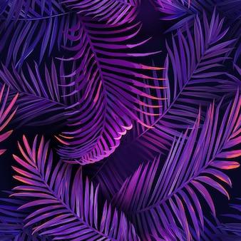 열 대 네온 야자 잎 완벽 한 패턴입니다. 정글 보라색 컬러 꽃 배경입니다. 직물, 패션 섬유, 벽지를 위한 트로픽 식물을 사용한 여름 이국적인 식물 단풍 형광 디자인. 벡토