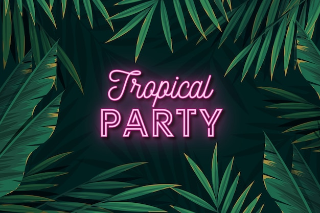 Tropical neon party lettering leaves background