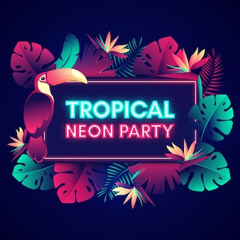 Tropical neon party lettering with leaves