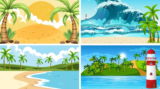 Tropical ocean nature scenes with beaches