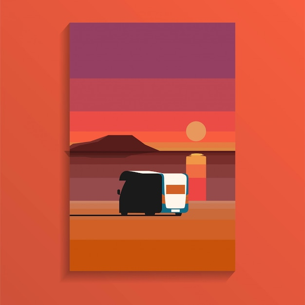 Tropical ocean sand beach in sunset daytime with a camper van parked near sea in holiday minimal style