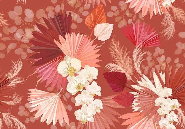 Тропический цветок орхидеи, пальмовые листья, трава пампасов, бесшовный фон вектор lunaria. джунгли сушеные цветы шаблон. акварель бохо дизайн для свадьбы, текстильный принт, текстура обоев, фон