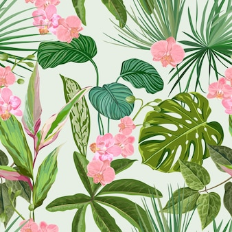 Tropical orchid, philodendron and monstera seamless background, floral print with exotic pink flowers and green jungle leaves. rainforest nature textile ornament, plants wallpaper. vector illustration