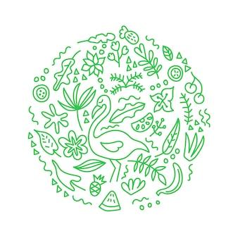 열대 장식 플라밍고 과일 낙서 장식품 새겨진 원 꽃 이국적인 잎