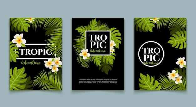 Флаер тропических пальм оставляет набор фона. модная летняя карта тропического дизайна. баннер экзотических джунглей.