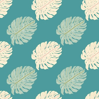 モンステラの葉の形をした熱帯のヤシの葉のシームレスなパターン。ターコイズブルーの背景。ファブリックデザイン、テキスタイルプリント、ラッピング、カバーの装飾的な背景。ベクトルイラスト。