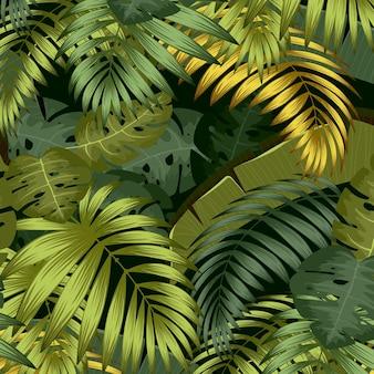 熱帯のヤシの葉 シームレスな葉のパターン背景