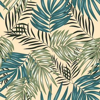 Tropical palm leaf seamless pattern